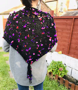 Alize black bulky yarn boho style with purple flowers shawl wrap-1QTY