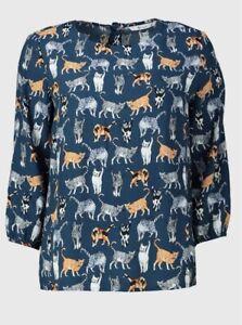 BNWT Tu Ladies Blue Ginger Grey Cat Print 3/4 Sleeve Blouse Shirt Sz 14
