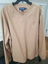 Polo Golf Ralph Lauren Pullover V-Neck Brown Check Wind Jacket Men's Xl