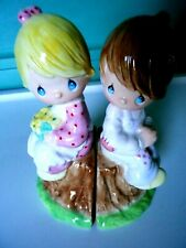 Precious Moments Boy & Girl Figurines Loving•Caring•Sharing Salt & Pepper Shaker