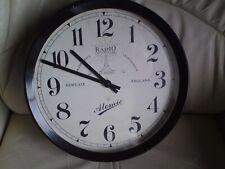 Vintage Retro Style Newgate Black Quartz Radio Controlled Wall Clock Metal,USED.