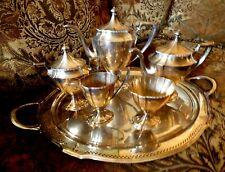Sheffield Pairpoint Silver plate 6 pc set Coffee Tea pot sugar bowl creamer Tray