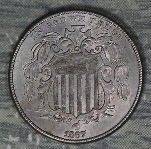 Beautiful Almost Uncirculated 1867 Shield Nickel!!
