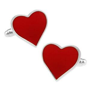 RED HEART CUFFLINKS Love Valentine's Day Lovers NEW w GIFT BAG Groom Wedding
