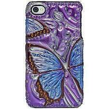 BLUE BUTTERFLY METALLIC SNAP ON HARD CASE COVER FOR APPLE iPHONE 4 4s CDMA
