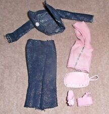 BARBIE DOLL CLOTHES - SPARKLY DENIM CAPRI & JACKET, PINK HOODIE, SHOES, PURSE