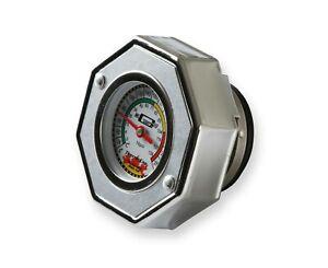 Mr Gasket 2471S Thermocap Radiator Cap, 16 Lb. Silver Temp Gauge *Texas Stock*