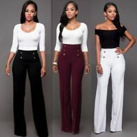 US Women Palazzo High Waist Wide Leg OL Career Long Pants Button Casual Trousers