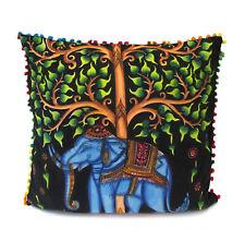 "24"" Indian Mandala Elephant Tree Square Cushion Cover Home Decorative Cotton"
