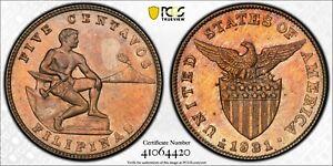 1931 M US Philippines 5 Centavos PCGS MS 63