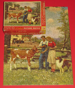 """VINTAGE TUCO PUZZLE RARE """"YOUTH ON THE FARM"""" COLLIE DOG GUERNSEY JERSEY CALF CIB"""