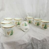 Mikasa Tea Cups Merry Christmas Fine Bone China Coffee Set Of 8