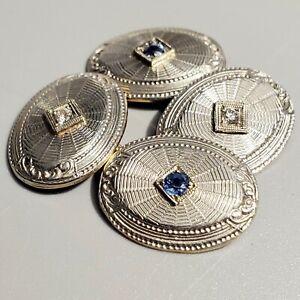 Antique Art Deco Platinum 14K Gold Diamond Sapphire Gemstone Cufflinks