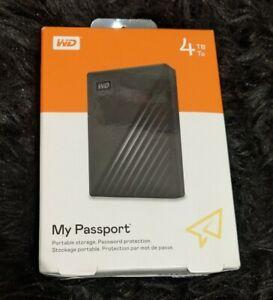 ✅ WD My Passport 4TB External USB Hard Drive - Black - Brand New