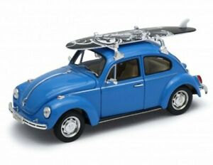 VW Volkswagen Käfer / Beetle with Surfboard - blue - WELLY 1:24