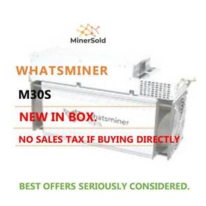 NEW Whatsminer M30S – 90T @ 38W/T. IN STOCK. FREE SHIPPING. N.AMERICAN SELLER.