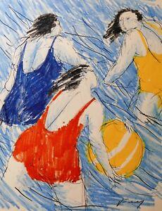 Viola Frey (1933-2004 California) Beach Women in Swimsuits Original Drawing
