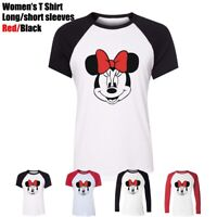 Disney Mickey Mouse lovely lady Minnie Women's Girl's T-Shirt Graphic Tee Tops