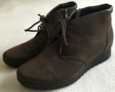 6.5W Cloudsteppers by Clarks Women Ankle Boots Shoes Lace Up Brown Comfortable!