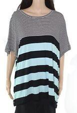 Calvin Klein Women Top Black Size 3X Plus Knit Striped Colorblock Scoop Neck 256
