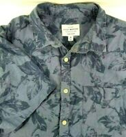 Lucky Brand Mens Short Sleeve Shirt Size M Medium Blue with Floral Linen Blend