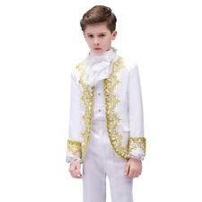 Boys Kids Retro Court Hussar Suit Jacket Blazer Pants Embroidered Costume