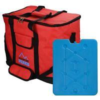 30L Insulated Cooler Bag Cool Beach Camping Lightweight Food Drink Freeze Block