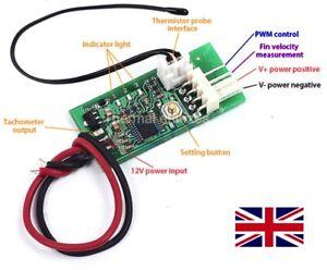 12V DC PWM PC 4 Wire Fan Temperature Speed Controller CPU/CASE Fan NEW 🇬🇧