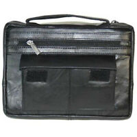 Black Genuine Leather Bible Organizer Book Cover Case Zippered Bag Large