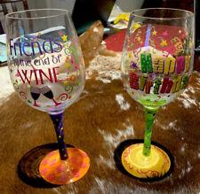New ListingFriends Happy Birthday Hand Painted Wine Glasses