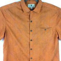 Island Shores Mens Hawaiian Shirt Size Large Orange Tropical Island Wear Aloha