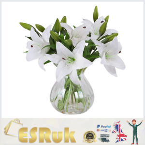 Artificial Flowers Lillies Bunch Home Decor Fake Lilly Flower Latex Real Touch