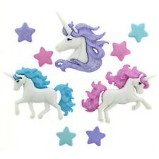 Childrens Buttons - Magical Glitter Unicorns - Novelty Buttons Cake Decorations