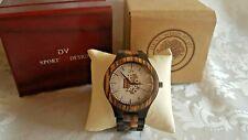 GV Sport Design Armband Uhr Holzuhr Herren Uhr Zebrano- + Sandelholz (GV17)