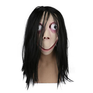 Scary Momo Games Latex Mask With Long Hair Adult Halloween Costume Party Props