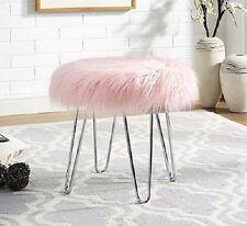 Pink Faux Fur Ottoman Step Stool For Girl Teen Women Vanity Chair Glam Room Boho