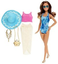 Barbie Glam Vacation Doll, Blue Tie Dye One Piece Beach Fun Tye Die & dress.