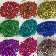 RAINBOW HOLOGRAPHIC GLITTER 1mm & 2mm SIZES ALL COLOURS HAIR FACE NAIL TECH BODY