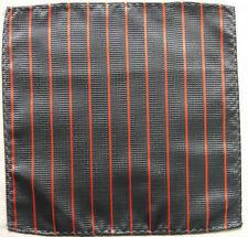 Hankie Pocket Square Handkerchief MENS Hanky GREY ORANGE STRIPED