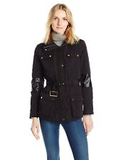 Calvin Klein Women's Quilted Jacket Missing Belt With Hoodie Black Size S
