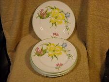 "set (4) Sigma Taste Seller ""Printemps"" 1001 Salad Plates Blue Pink Yellow Floral"
