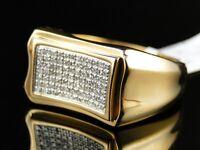 Mens  Yellow Gold Finish Genuine Diamond Pave Setting Pinky Band Ring .45 Ct