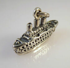 .925 Sterling Silver 3-D CRUISE SHIP CHARM NEW Pendant Ocean Liner Boat 925 NT36