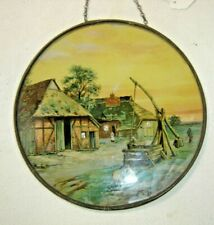 Antique Flu Cover ~ Cottage Scene ~ Thatch Roof House and Barn ~ 1516