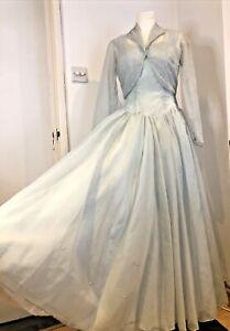 Vintage 1950s Pale Blue Sequined Ball Gown Dress & Bolero Cinderella