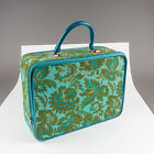Vintage 1960's Avon Blue-Green Flowered Fabric Sample Suitcase Overnight Bag 15""