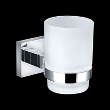 Bathroom Square Single Glass Tumbler Cup Holder Wall Mounted Brass Chrome
