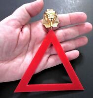 "OVERSIZED 4""3/4 Inch Red Lucite Egyptian Pharaoh Runway Statement Earrings!"