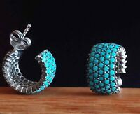AAA QUALITY STERLING 925 SILVER JEWELRY & NANO BLUE TURQUOISE STUD EARRINGS