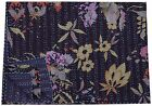 Indian Floral Black Throw Quilt Kantha Bedspread Reversible Quilt Cotton Blanket